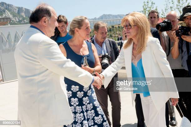 Winery owners Ariane de Rothschild and Pablo Alvarez Mezquiriz and Baroness Carmen Thyssen Bornemisza attend Macan Winery inauguration on June 16...