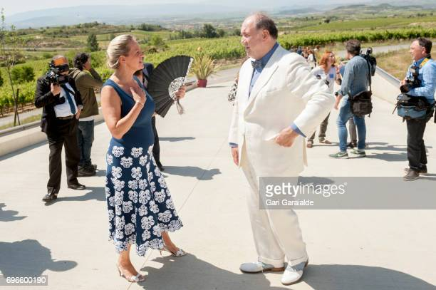 Winery owners Ariane de Rothschild and Pablo Alvarez Mezquiriz attend Macan Winery inauguration on June 16 2017 in Alava Spain