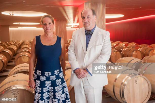 Winery owners Ariane de Rothschild and Pablo Alvarez Mezquiriz pose at the Macan Winery inauguration on June 16 2017 in Alava Spain