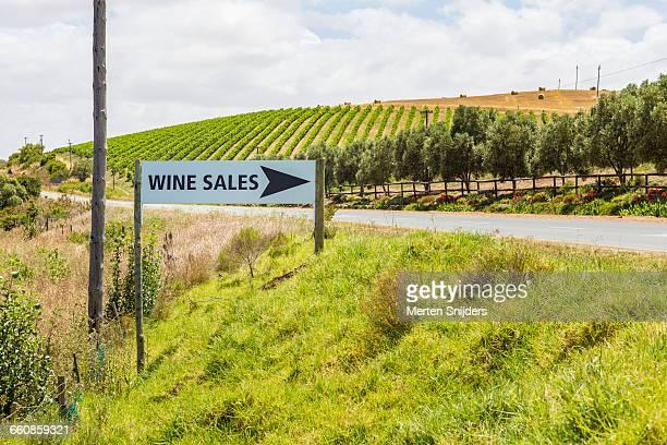 Winery sales eye-catchers along road