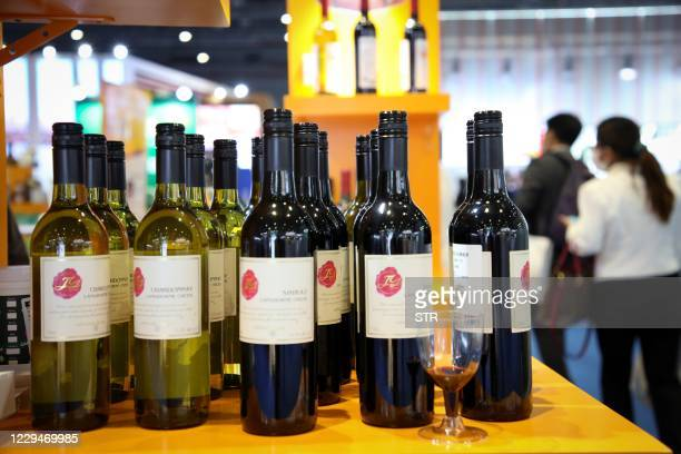 Wines from Australia are seen at the Food and Agricultural Products exhibition at the third China International Import Expo in Shanghai on November...