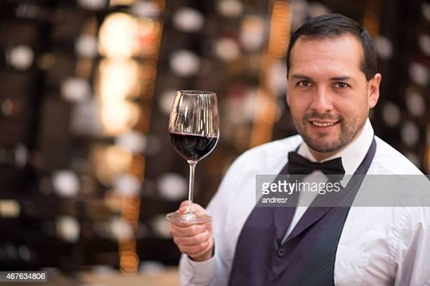 Wine-taster at a restaurant