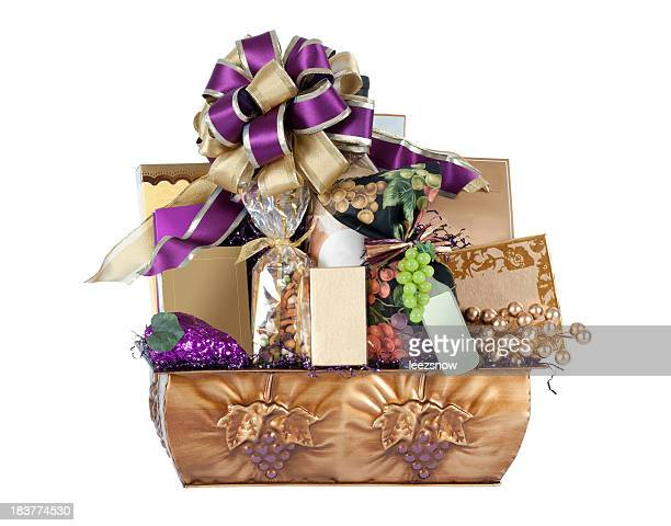Wine-themed Gift Basket with Purple and Gold Bow
