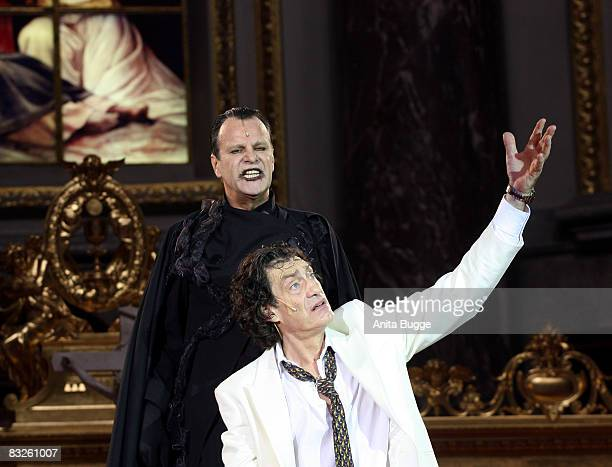 "Winfried Glatzeder as Jedermann and Peter Sattmann as the death perform during the dress rehearsal for the play ""Jedermann"" by author Hugo von..."