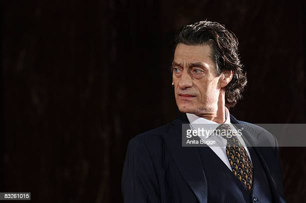 "Winfried Glatzeder as Jedermann performs during the dress rehearsal for the play ""Jedermann"" by author Hugo von Hoffmannsthal at the Berlin Cathedral..."