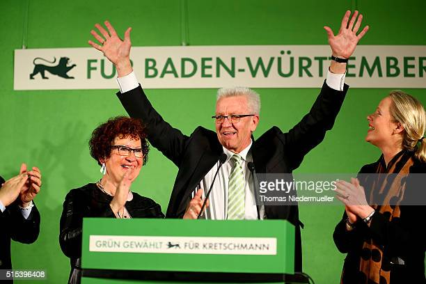 Winfried Kretschmann incumbent governor of BadenWuerttemberg and member of the German Greens Party celebrates after the BadenWuerttemberg state...