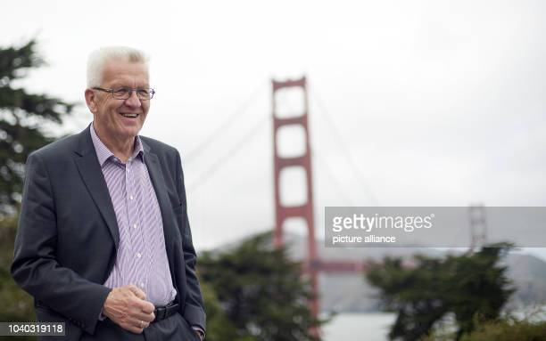 Winfried Kretschmann Premier of the German state BadenWuerttemberg stands for photos at the Golden Gate Bridge in San Francisco USA 18 May 2015 Photo...