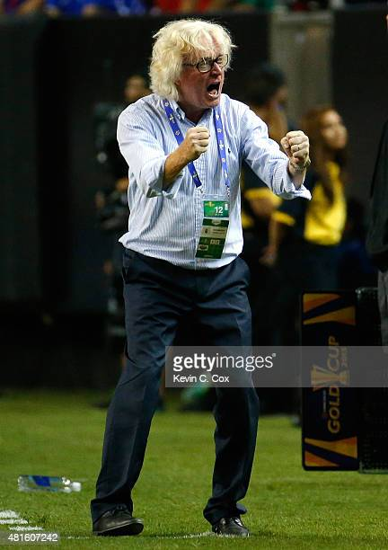 Winfried Schäfer of Jamaica celebrates in the final minutes of their 21 win over the United States of America during the 2015 CONCACAF Golf Cup...