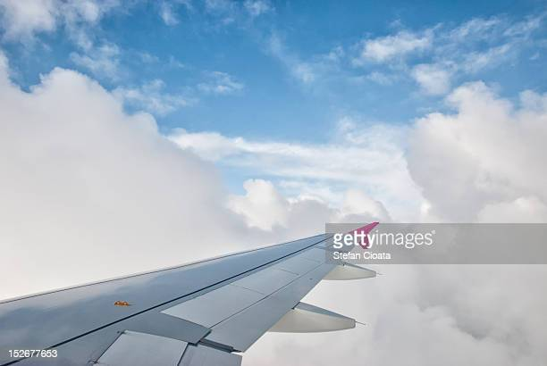 Wing above the clouds