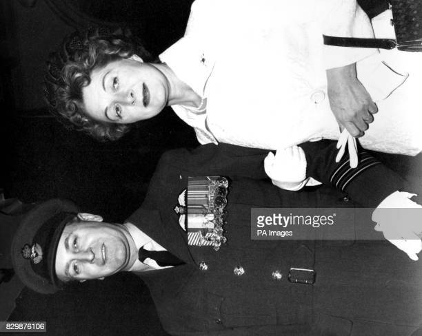 Wing Commander Clive Beadon DFC with his second wife formerly Mrs Jane Whigham on the occasion of their wedding at Caxton Hall Westminster 1121965...