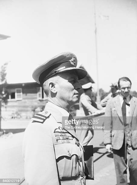 Wing Commander Clive Caldwell at his court martial trial held in Bradfield Park New South Wales following the Morotai Mutiny in whch several...