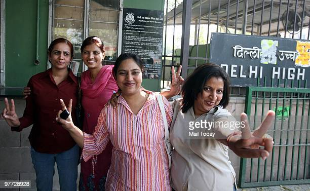 Wing Commander Pushpanjali Sharma Major Seema Singh and Wing Commander Rekha Aggarwal celebrate outside the court after the high court order granting...