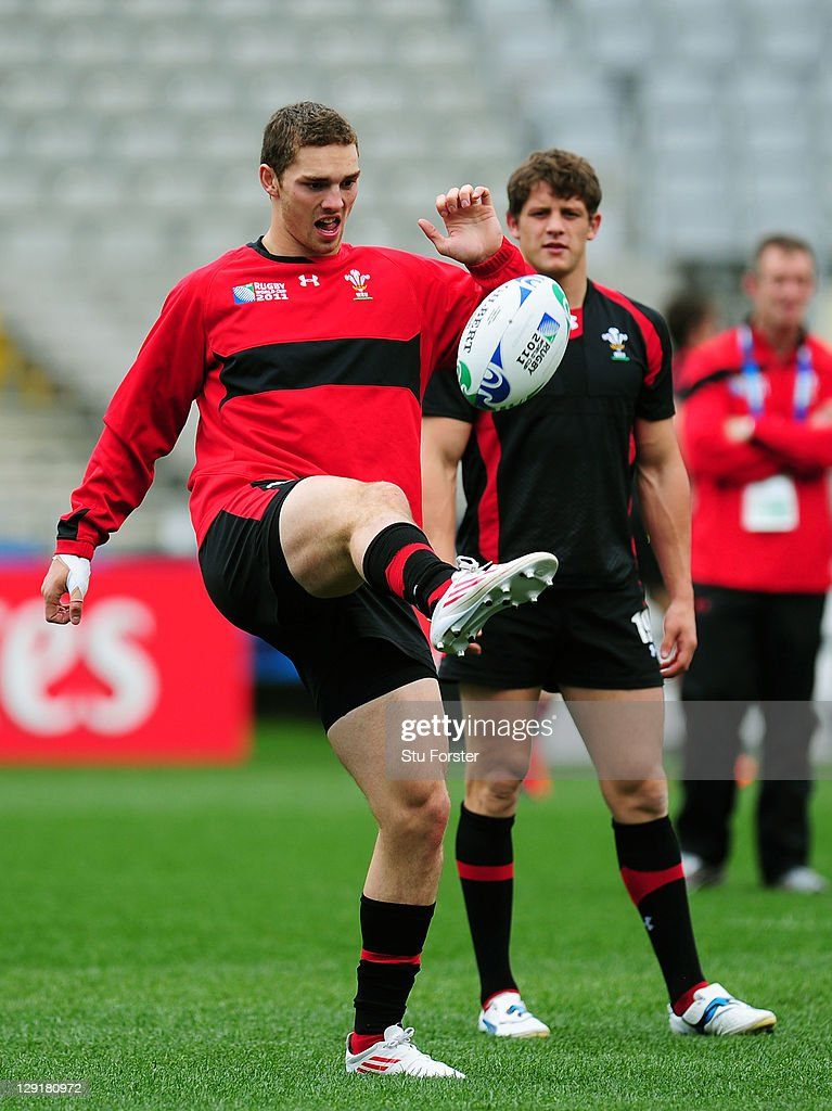 Wing George North (L) juggles the ball as teammate Lloyd Williams looks on during a Wales IRB Rugby World Cup 2011 captain's run at Eden Park on October 14, 2011 in Auckland, New Zealand.