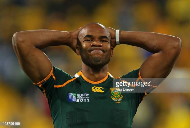Wing JP Pietersen of South Africa reacts following his team's 9-11 defeat during quarter final three of the 2011 IRB Rugby World Cup between South...