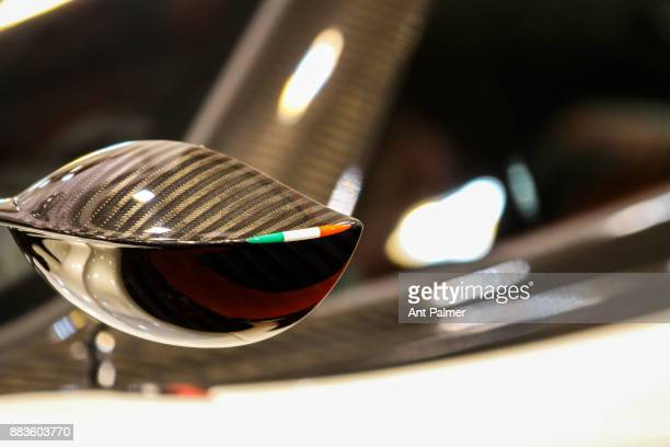 Wing mirror detail of a Bugatti sports car on display at the Essen Motor Show on December 1 2017 in Essen Germany The current incarnation of the...