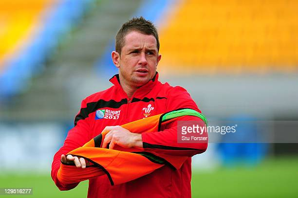 Wing Shane Williams looks on during a Wales IRB Rugby World Cup 2011 training session at Mt Smart Stadium on October 18 2011 in Auckland New Zealand
