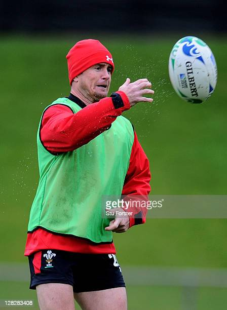 Wing Shane Williams passes the ball during a Wales IRB Rugby World Cup 2011 training session at Newtown Park on October 6 2011 in Wellington New...