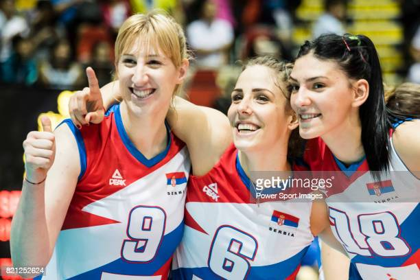 Wing spiker Brankica Mihajlovic Wing spiker Tijana Malesevic and Opposite spiker Tijana Boskovic of Serbia pose for photo after winning the FIVB...