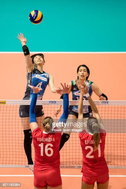 Wing spiker Risa Shinnabe of Japan during the FIVB Volleyball World Grand Prix match between Japan vs Russia on July 23 2017 in Hong Kong Hong Kong