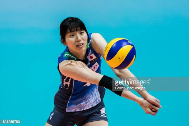 Wing spiker Risa Shinnabe of Japan in action during the FIVB Volleyball World Grand Prix Hong Kong 2017 match between Japan and Russia on July 23...