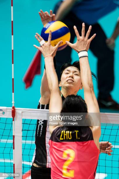 Wing spiker Risa Shinnabe of Japan spikes the ball during the FIVB Volleyball World Grand Prix match between China vs Japan on July 21 2017 in Hong...