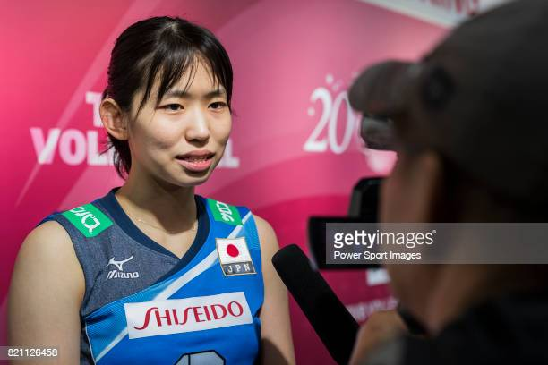 Wing spiker Sarina Koga of Japan talks during post match interview of the FIVB Volleyball World Grand Prix Hong Kong 2017 match between Japan and...