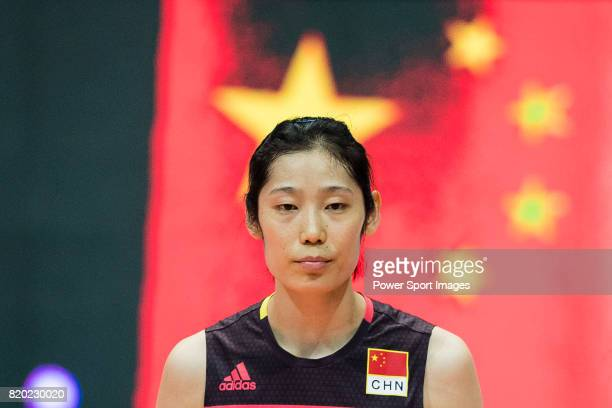 Wing spiker Ting Zhu of China during the FIVB Volleyball World Grand Prix match between China vs Japan on July 21 2017 in Hong Kong Hong Kong