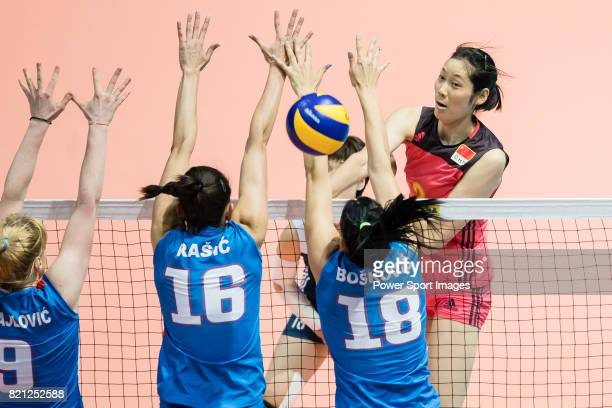 Wing spiker Ting Zhu of China spikes the ball during the FIVB Volleyball World Grand Prix Hong Kong 2017 match between China and Serbia on July 23...