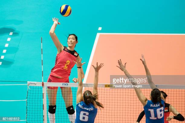 Wing spiker Ting Zhu of China spikes the ball during the FIVB Volleyball World Grand Prix match between China vs Serbia on July 23 2017 in Hong Kong...