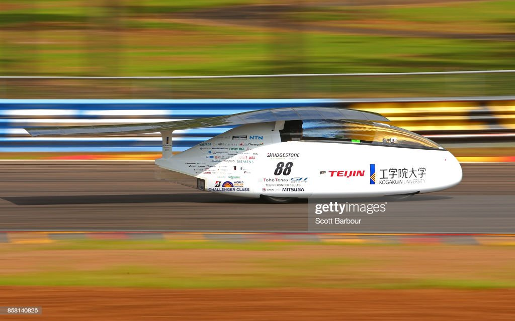 Wing, the car from Japan's Kogakuin University Solar Team is tested on track at the Hidden Valley Motor Sport Complex before competing in the Challenger class ahead of the 2017 Bridgestone World Solar Challenge on October 6, 2017 in Darwin, Australia. Teams from across the globe are competing in the 2017 World Solar Challenge - a 3000 km solar-powered vehicle race through the Australian Outback between Darwin and Adelaide. The race attracts teams from around the world, most of which are fielded by universities or corporations although some are fielded by high schools. The race has a 30-year history spanning thirteen races, with the inaugural event taking place in 1987. The race begins on October 8th with the first car expected to cross the finish line on October 11th.