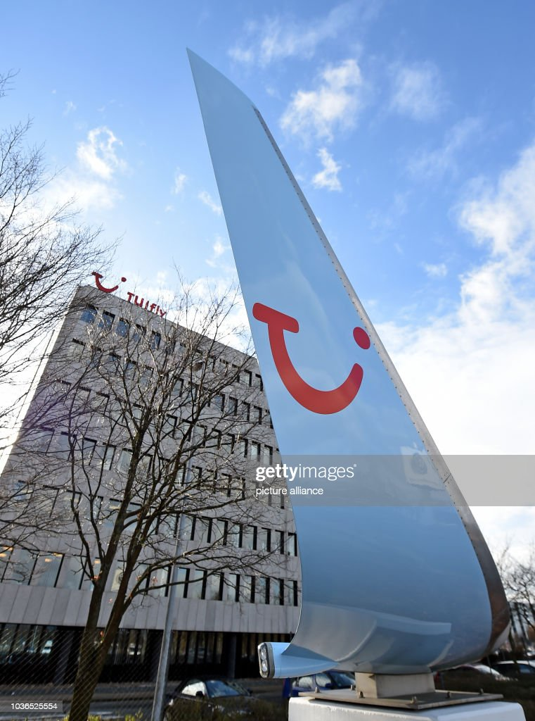 A Wing Tip Featuring The Tui Logo Pictured Outside Tuifly Headquarters At Hanover Airport In