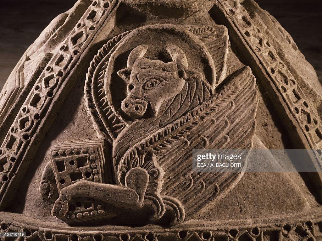 Winged Bull Symbol Of Saint Luke The Evangelist Detail Of A 12th