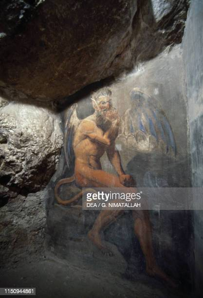 Winged devil fresco of the corridor leading to the Holy Cave in the lower church inside the Monastery of Saint Benedict 9th13th century Subiaco Lazio...