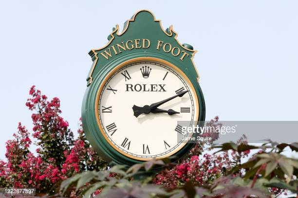 Winged Foot Rolex clock is seen during a practice round prior to the 120th U.S. Open Championship on September 15, 2020 at Winged Foot Golf Club in...