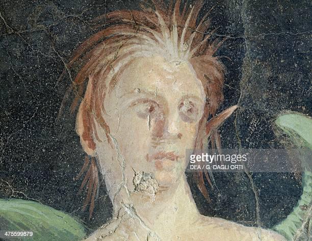 Winged genius fragment of a fresco from the Villa of Publius Fannius Synistor Boscoreale Campania Italy Detail Roman civilisation 1st century BC...