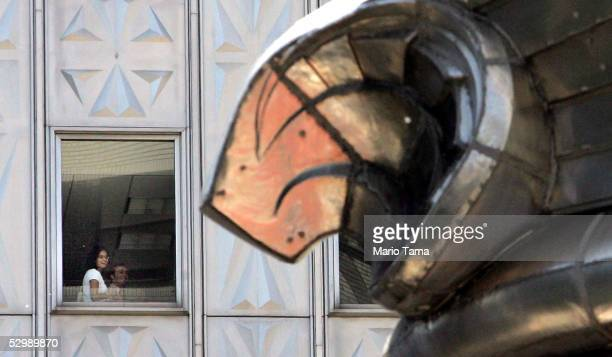 A winged urn is seen on the Chrysler Building as the press were given a tour to mark the 75th Anniversary of the New York Landmark May 27 2005 in New...