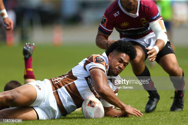 Winger Leicester Fainga'anuku of Tasman falls after a tackle during the round 7 Mitre 10 Cup match between Tasman and Southland at Trafalgar Park on...