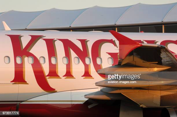 winglet boatfairings trailingedge of the wing and windows of the Kingfisher Airlines Airbus A320200 parked in the staticdisplay at the 2006...