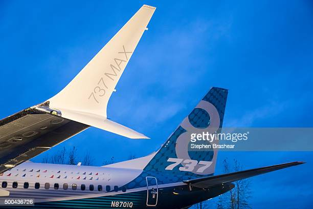 A winglet on the first Boeing 737 MAX airliner is pictured at the company's manufacturing plant on December 8 in Renton Washington The plane is the...