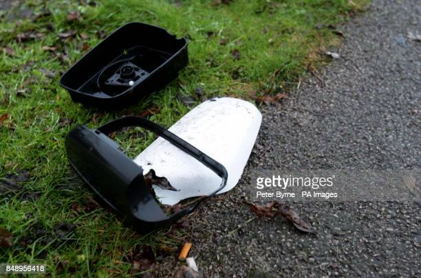 A wingmirror at the scene of a crash in Wrightington Lancashire in which Tour de France cycling champion and Olympic gold medallist Bradley Wiggins...