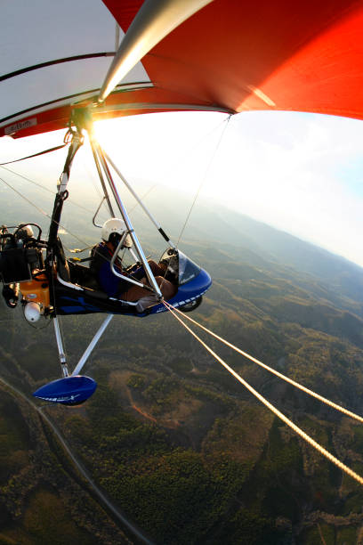Wing-mounted camera view of a an ultralight trike in flight over North Carolina.