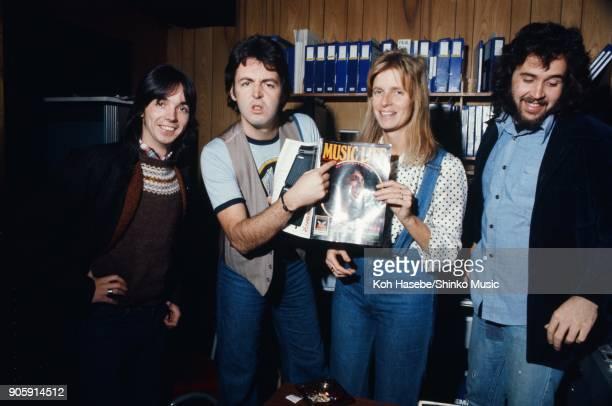 Wings in the recording studio in New York May 1975 Ney York USA Paul McCartney Linda McCartney Jimmy McCullorch Joe English