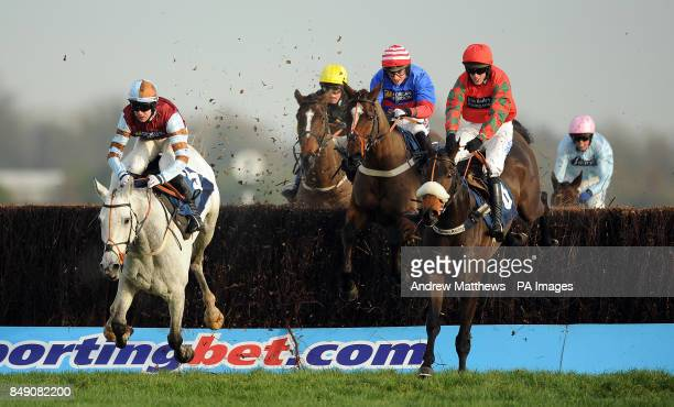 Wings of Smoke ridden by jockey Micahel Byrne jumps the last ahead of Ballywatt ridden by Ed Cookson to go on and win the Sanderson Weatherall Ladies...