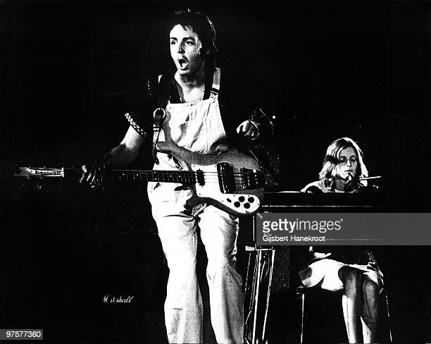 Wings perform live on stage at The Theatre Antique in Arles France on July 13 1972 LR Paul McCartney Linda McCartney