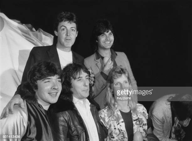 Wings the pop group formed by exBeatle Paul McCartney at a press conference at Abbey Road Studios in London for the release of their new album 'Back...
