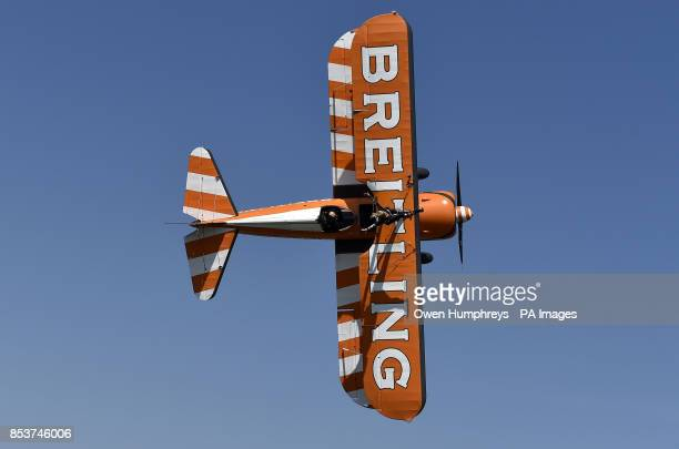 Wingwalker Lydia Beagle from Shropshire practices some wingwalking above Northumberland ahead of tomorrow's Sunderland Airshow which is expecting...