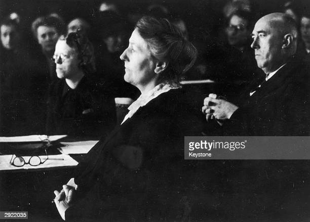 Winifred Wagner daughterinlaw of the German composer Richard Wagner with her lawyer Fritz Mayer during her trial before the court of appeal in...