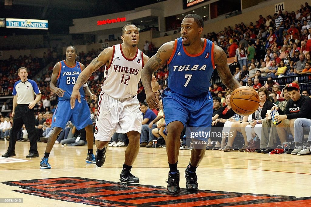 Wink Adams #7 of theTulsa 66ers dribbles against Will Conroy #12 of the Rio Grande Valley Vipers in Game Two of the 2010 NBA D-League Finals at the State Farm Arena on April 27, 2010 in Hidalgo, Texas. The Valley Vipers won 94-91 to claim the D-League Championship.
