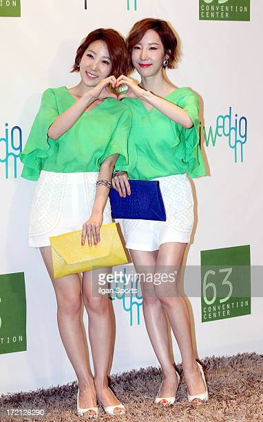 Wink attend Jang YoonJung and Do KyungWan Wedding at 63 building convention center on June 28 2013 in Seoul South Korea