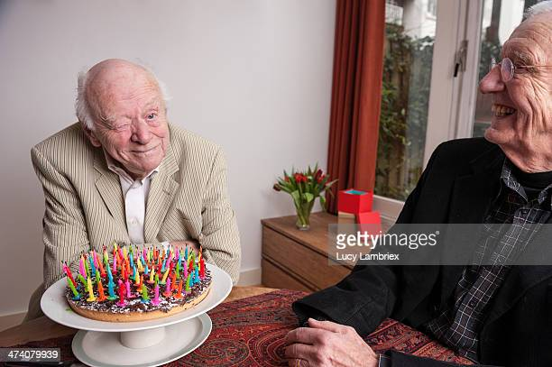 Winking after blowing out 93 birthday candles